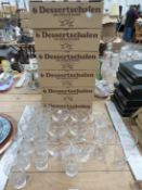 SET OF TWELVE CUT GLASS TUMBLERS AND OTHER GLASSWARES.