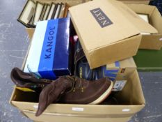 A COLLECTION OF SHOES LADIES SIZE 9 AND 10 INC. SOME NEW AND IN BOX.