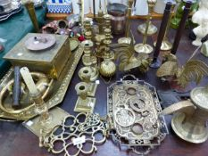 A QUANTITY OF BRASS WARES INC. EASEL, CANDLESTICKS, DESK STAND, ETC.
