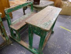 AN INDIAN VINTAGE PAINTED RUSTIC CHILD'S SCHOOL DESK.
