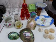 VARIOUS MOTHER OF PEARL SHELLS, CHINA AND GLASSWARES, ETC.