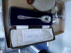 SILVER INKWELL AND A CHRISTENING SPOON.