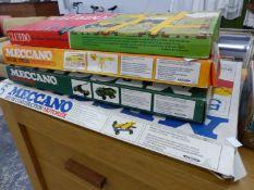 THREE PART BOXED MECCANO SETS, VARIOUS BOARD GAMES, SPHYGMOMANOMETER, CARVING SET, ETC.
