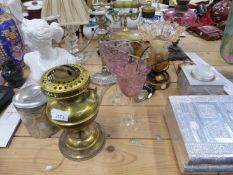 AN EDWARDIAN OIL LAMP, TWO NOUVEAU STYLE ALUMINIUM BOXES, TABLE LAMPS, ETC.