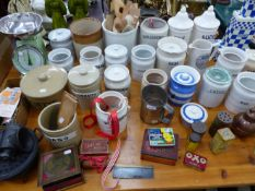 A LARGE QUANTITY OF VINTAGE KITCHEN STORAGE JARS AND OTHER KITCHENALIA.