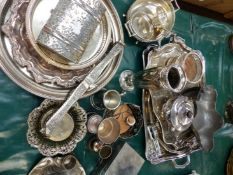 A QUANTITY OF SILVER PLATEDWARES, PEWTER BOWL, ETC.