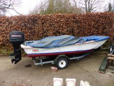 "A VINTAGE SPEED BOAT, ""LIBERTY"", WITH SHALLOW HULL. FITTED WITH 40HP MERCURY OUTBOARD MOTOR,"