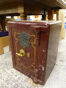 A VINTAGE SMALL SAFE BY WITHY GROVE STORES, WITH ONE KEY. W 38 X D 38 X H 51CMS.