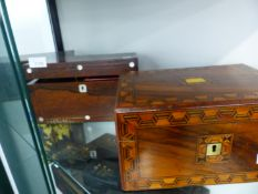 TWO 19th.C. TEA CADDYS AND AN INLAID WORK BOX.