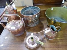 A VICTORIAN COPPER KETTLE AND OTHER COPPER AND BRASS WARES.