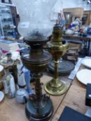 TWO ANTIQUE OIL LAMPS.