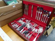 AN ARTHUR PRICE KINGS PATTERN CUTLERY SET AND OTHER PLATED CUTLERY.
