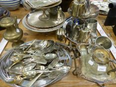 A QUANTITY OF SILVER PLATED WARES.