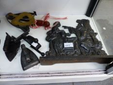 AN 18th.C. BRONZE MORTAR, FOUR MINI SMOOTHING IRONS, A SERVANTS BELL, A CARRIAGE LAMP, ETC.