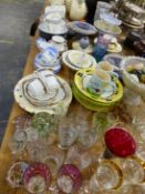 CUT GLASSWARES, FIVE PAPERWEIGHTS AND A LARGE QTY OF DECORATIVE CHINA AND DINNERWARES.