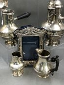A FRENCH SILVER FOUR PART RIBBON AND REED COFFEE SERVICE, WITH PINE CONE FINALS, AND EBONY