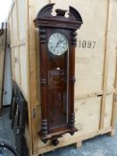 A VERY LARGE ROSEWOOD CASED VIENNA REGULATOR, A BROKEN PEDIMENT ABOVE THE SILVERED DIAL WITHIN A