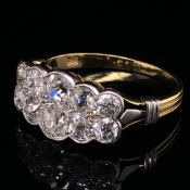 AN ANTIQUE 18ct YELLOW GOLD AND 10 STONE 2 ROW OLD CUT DIAMOND RING ESTIMATED DIAMOND WEIGHT 2.50cts