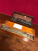 A MAHOGANY CASED CASARTELLI OF MANCHESTER SURVEYORS LEVEL BLACKENED BUT FOR THE BRASS FOCUSSING