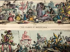 THREE ANTIQUE SATIRICAL PRINTS ON FASHION: CRUIKSHANKS MONSTROSITIES OF 1819 & 1820, THE MARCH OF
