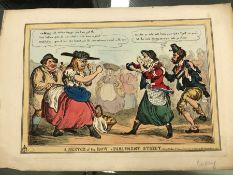 HENRY HEATH, THE GREAT GENERAL FRIGHTENED BY A DON-KEY TOGETHER WITH ANOTHER ANTIQUE SATIRICAL PRINT