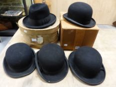 FOUR BLACK BOWLER HATS, THREE BY LOCK & CO THE OTHER BY HERBERT JOHNSON, THE INTERNAL MEASUREMENTS