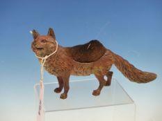 AN AUSTRIAN COLD PAINTED BRONZE FOX PEN WIPER, GESCHUZT MARK. W 18cms.