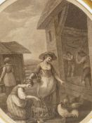 AFTER W. HAMILTON. THREE OVAL PRINTS REPRESENTING MONTHS OF THE YEAR, FEBRUARY, MARCH AND MAY. 33