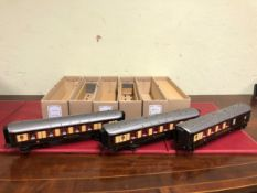 THREE BOXES OF DARSTAED 0 GAUGE PULLMAN COACHES, JOAN, ZENA AND CAR No. 77 THIRD CLASS, EACH WITH