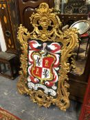 A LARGE CARVED GILTWOOD ROCOCO FRAME, 148 x 89cms.