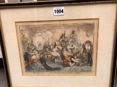 TWO ANTIQUE GILLRAY POLITICAL PRINTS FEATURING WILLIAM WYNDHAM BARON GRENVILLE, ONE OF HIS NEW