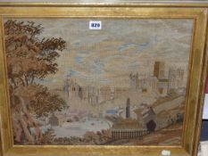 A 19th C. NEEDLEWORK PICTURE OF DURHAM CATHEDRAL FROM THE SOUTH, THE GILT FRAME. 50 x 60cms.