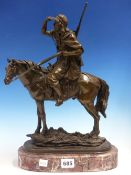 AFTER PAILLET, A BRONZE EQUESTRIAN FIGURE OF AN ARAB SHIELDING HIS EYES TO LOOK INTO THE DISTANCE