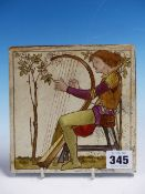 A COPELAND TILE TO A POSSIBLE DESIGN BY HENRY STACY MARKS PAINTED WITH A MEDIAEVAL HARPIST PLAYING