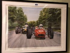 AFTER DENNIS WHARF, CLASSIC DUEL BETWEEN JOHN SURTEES AND DAN GURNEY AT MONZA IN 1964, PENCIL SIGNED