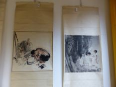 TWO CHINESE SCROLL PAINTINGS, ONE OF FOUR GIRLS SEATED BEFORE TREES. 67 x 66cms. THE OTHER OF TWO
