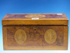 A GEORGIAN YEW WOOD TEA CADDY, THE RECTANGULAR LID, BACK AND FRONT PRINTED WITH AMORINI OVALS AND