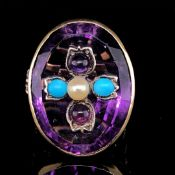 AN ANTIQUE 18ct YELLOW GOLD DIAMOND AMETHYST , TURQUOISE AND PEARL SET RING. THE PRINCIPLE OVAL