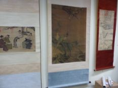 FIVE VARIOUS CHINESE SCROLLS PRINTED AFTER EARLIER PAINTINGS OF SCHOLARS. 37 x 57.5cms. OF A MAN