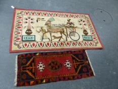 AN APPLIQUED CREAM GROUND PANEL SEWN IN BRIGHT COLOURS WITH A PHARAOH IN A HORSE DRAWN CHARIOT. 94 x