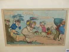 FOUR ANTIQUE PRINTS. AFTER MARKS, A SATIRICAL HAND COLOURED PRINT 'THOSE THAT WISH TO SEE A FULL