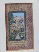 FOUR INDIAN MINIATURES AND A EUROPEAN WATERCOLOUR, THE FORMER INCLUDING TWO LADIES ON A TERRACE, A