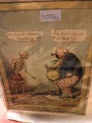 JAMES GILLRAY, AN ANTIQUE SATIRICAL PRINT, UN PETIT SOUPER A LA PARISIENNE, 1792 AND HENRY HEATH,