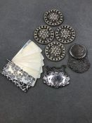 AN ANTIQUE SILVER CHANTELAINE HANGING AIDE MEMOIRE, WITH SILVER COVERS AND SIX IVORY PAGES, TOGETHER