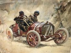 PETER J ASHMORE (B 1923), VINCENZO TRUCCO IN HIS ISOTTA FRASCHINI WINNING THE 1908 TARGA FLORIO,