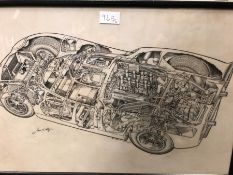 JAMES ALLINGTON, TWO INK CUTAWAY DRAWINGS OF CARS, THE LARGER OF A LOLA, BOTH SIGNED. 53 x 78cms.