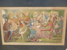 AFTER JAMES GILLRAY. AN ANTIQUE PRINT, ' DILETTANTI-THEATRICALS', 34 x 51cms.