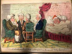 FOUR ANTIQUE SATIRICAL CARTOONS, ISAAC CRUIKSHANK, A CONSULTATION OF DOCTORS, WILLIAM BUNBURY, THE