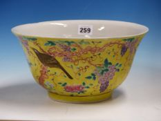A CHINESE BOWL PAINTED IN THE STYLE OF THE DOWAGER EMPRESS CIXIS BIRTHDAY PORCELAIN OF 1894 WITH