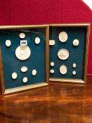 TWO FRAMES OF SEVENTEEN PLASTER MEDALLIONS MAINLY DEPICTED CLASSICAL FIGURES AND HEADS BUT TO